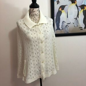 Authentic Vintage Pointelle Knit Cardigan Poncho